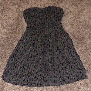 Strapless flower mini dress
